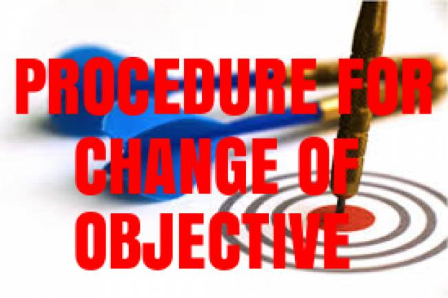 Procedure for change in object clause of the company