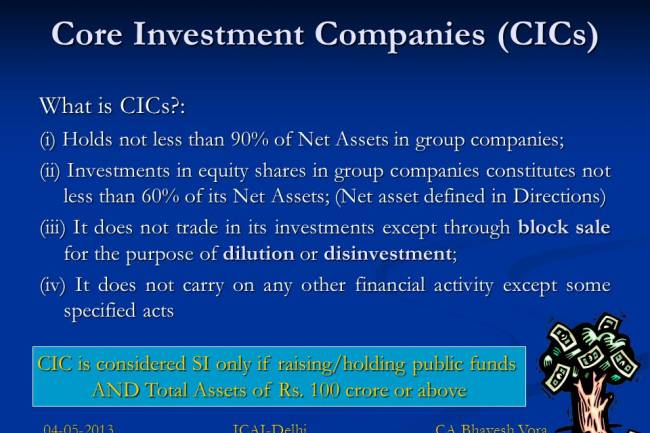 What is a core investment company?